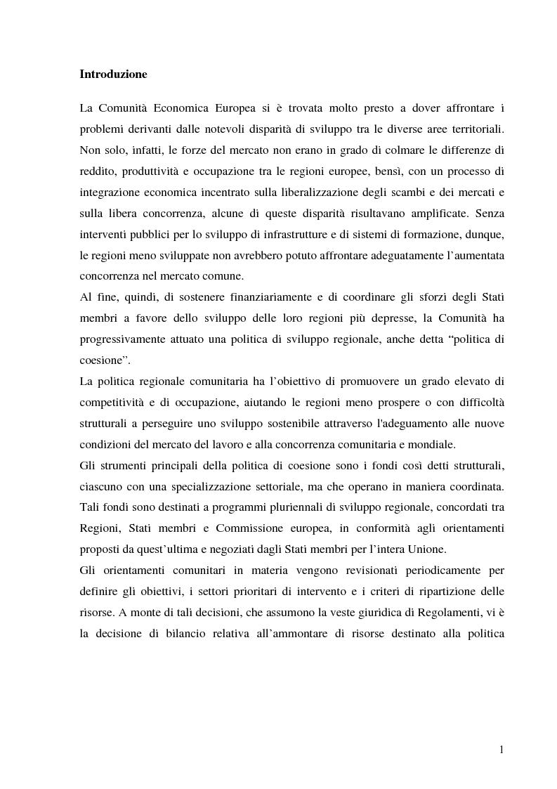 Anteprima della tesi: La politica di coesione dell'Unione Europea - Origini, funzionamento ed evoluzione, Pagina 1
