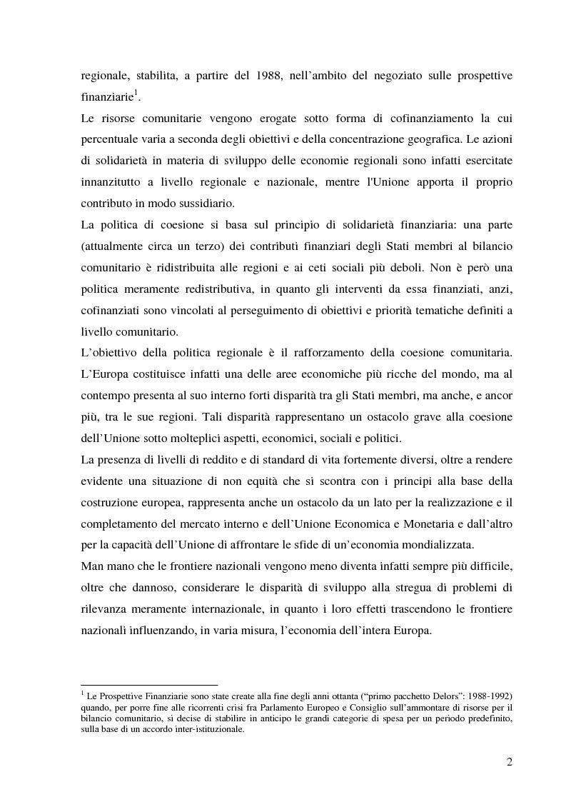 Anteprima della tesi: La politica di coesione dell'Unione Europea - Origini, funzionamento ed evoluzione, Pagina 2