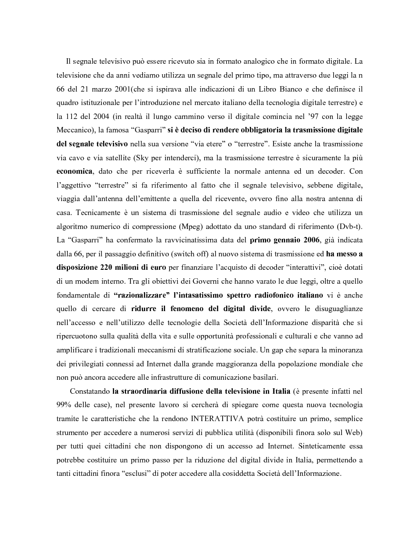 Televisione Digitale Terrestre. Dall' e-government al t-government: il caso Toscana - Tesi di Laurea