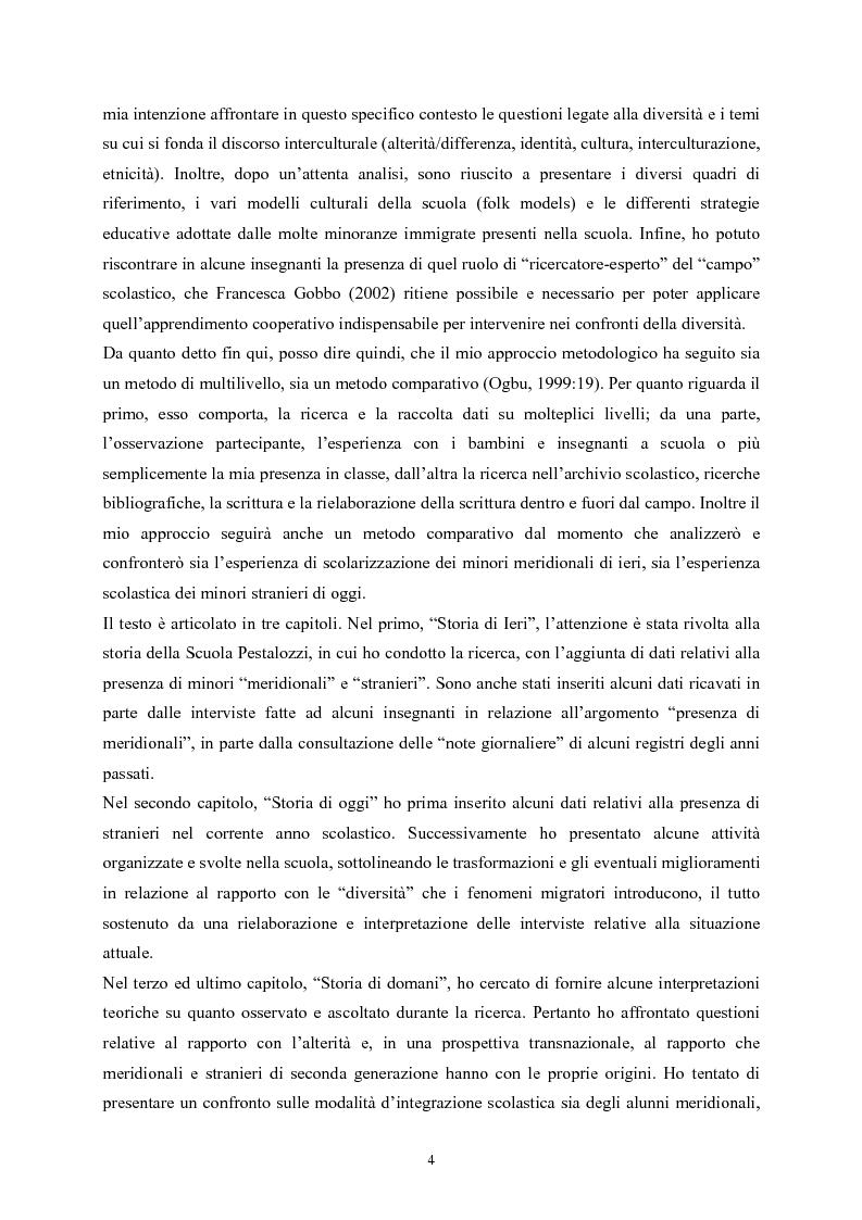 Anteprima della tesi: Tra immigrazione e intercultura: storia e etnografia di una scuola torinese, Pagina 4