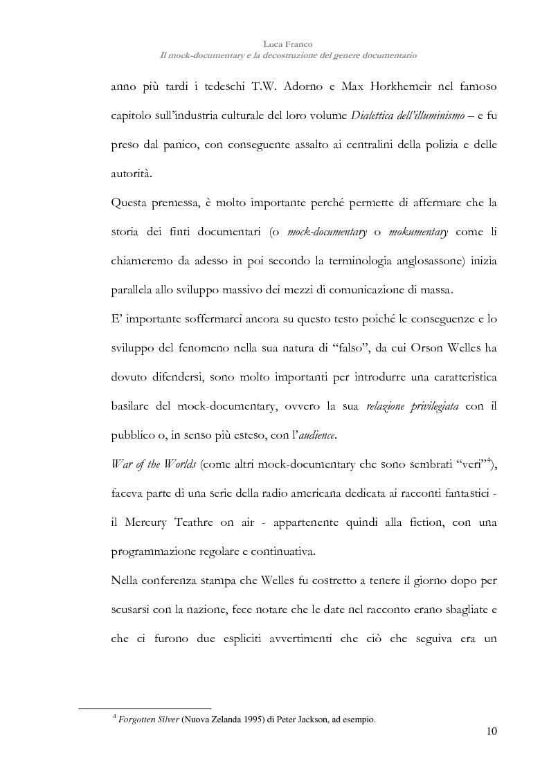Anteprima della tesi: Il mock-documentary e la decostruzione del genere documentario, Pagina 7