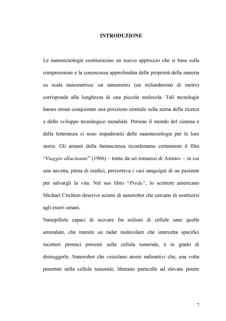 Anteprima della tesi: Lo sviluppo a livello mondiale delle nanotecnologie, Pagina 1