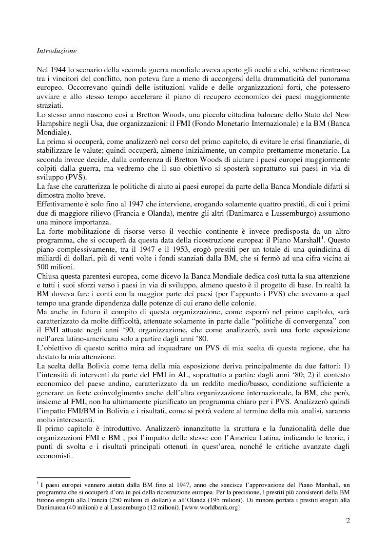Le relazioni tra il Fondo Monetario Internazionale e la Bolivia - Tesi di Laurea