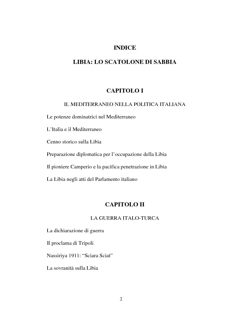 Indice della tesi: Libia: lo scatolone di sabbia, Pagina 1