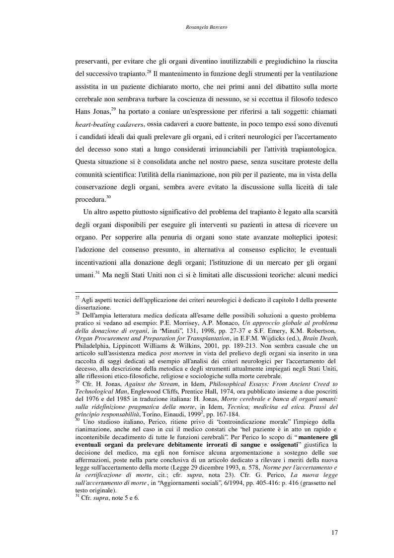 Anteprima della tesi: La questione della morte cerebrale nell'attuale dibattito bioetico, Pagina 14