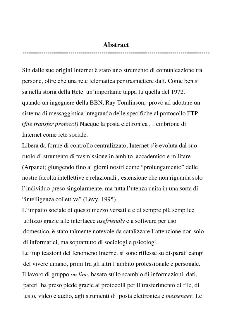 Anteprima della tesi: Comunicazione e Collaborazione in Rete: gruppi di supporto e forum di auto aiuto, Pagina 1