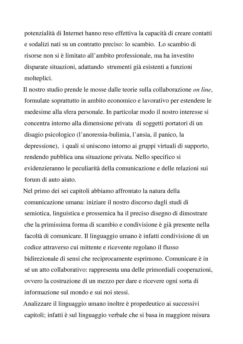 Anteprima della tesi: Comunicazione e Collaborazione in Rete: gruppi di supporto e forum di auto aiuto, Pagina 2