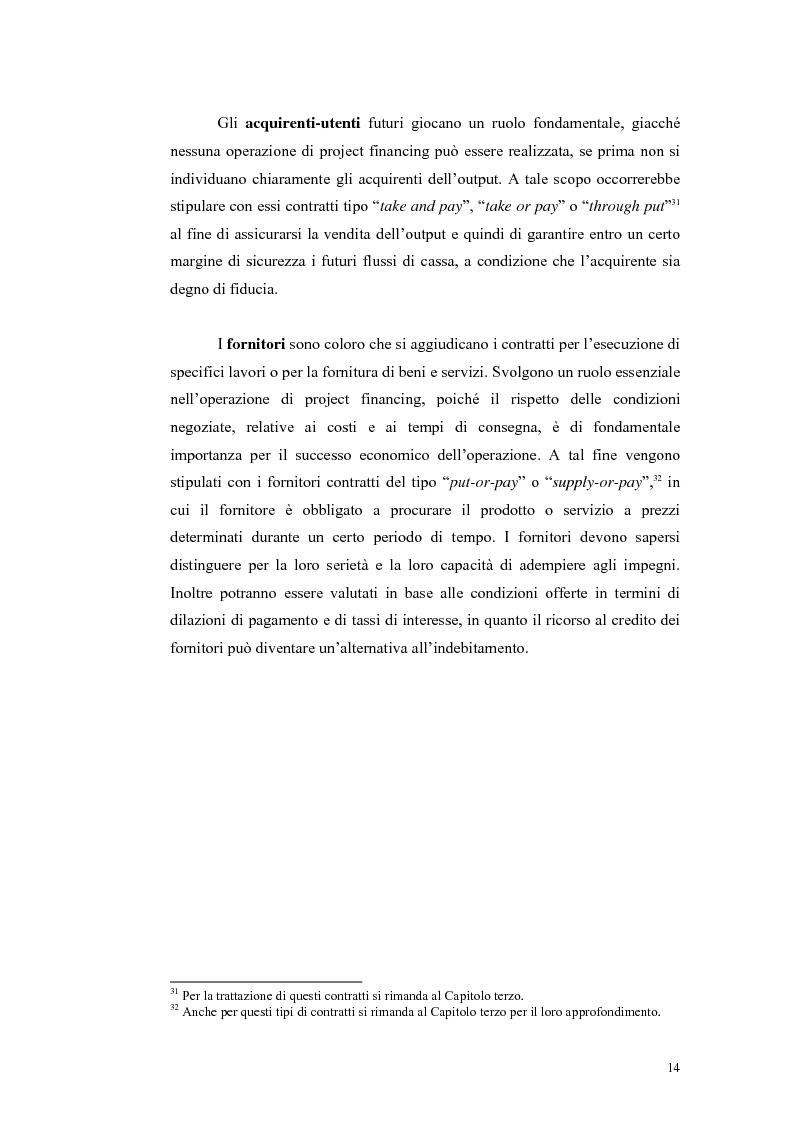 Anteprima della tesi: La valutazione economico-finanziaria nelle iniziative di project financing, Pagina 14