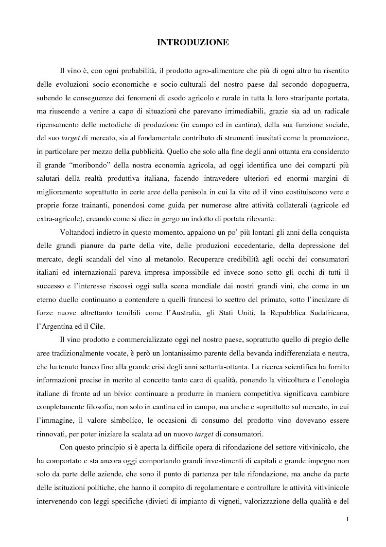 Anteprima della tesi: Strategie di valorizzazione di un vino e di un territorio: il Bolgheri Sassicaia, Pagina 1