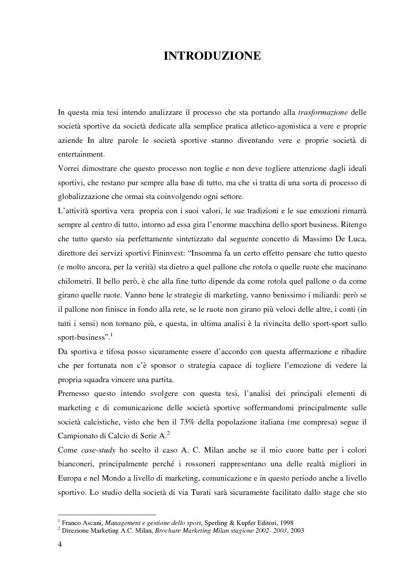 Le societ� sportive come societ� di entertainment. Il caso AC Milan - Tesi di Laurea