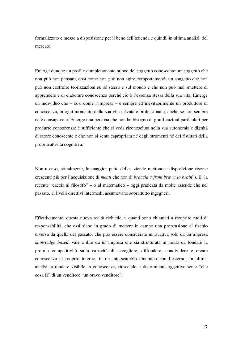 Anteprima della tesi: La gestione della conoscenza aziendale. L'aspetto relazionale e comunicativo all'interno di una organizzazione bancaria, Pagina 8