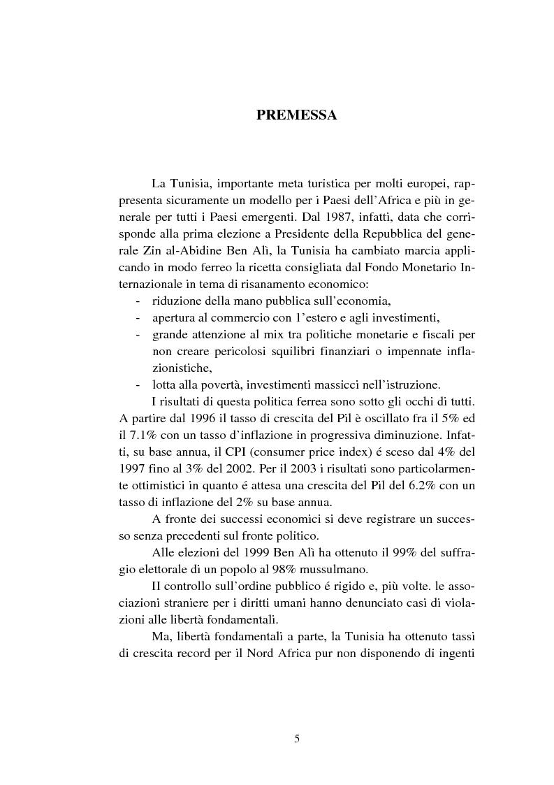 L'economia della Tunisia, il Ruolo del Italia - Tesi di Laurea