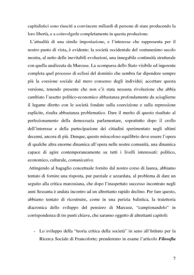 Anteprima della tesi: Dialettica del consumo - la teoria critica di Herbert Marcuse fra passato e presente, Pagina 4