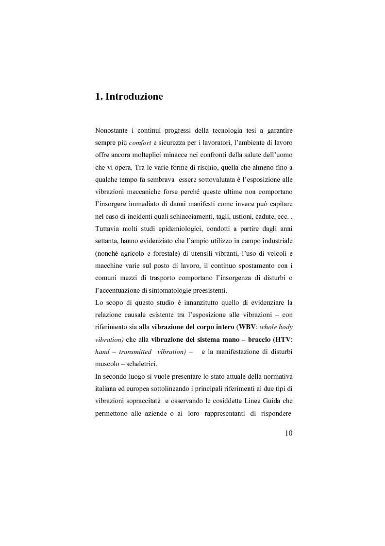 Anteprima della tesi: Studio sulla esposizione del corpo umano alle vibrazioni meccaniche: valutazione e prevenzione ai sensi della vigente normativa, Pagina 1