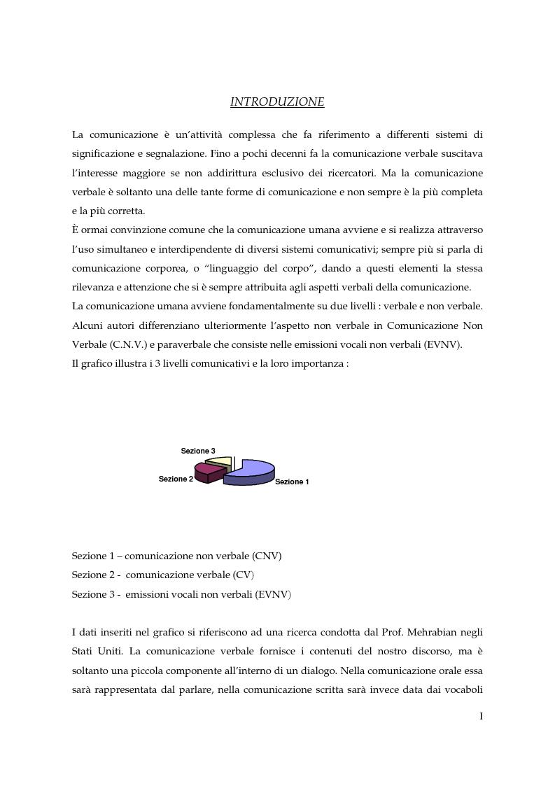 Anteprima della tesi: I gesti e le componenti della comunicazione non verbale. Uno studio sulla gestualità nell'apprendimento, Pagina 1