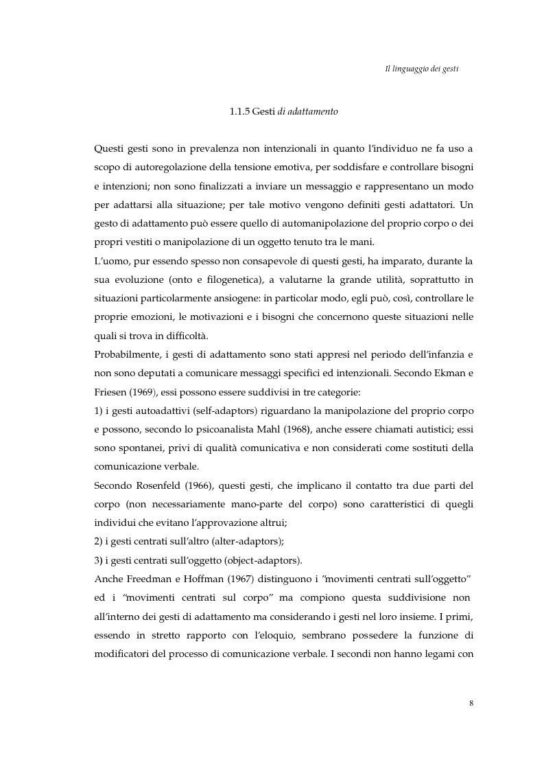 Anteprima della tesi: I gesti e le componenti della comunicazione non verbale. Uno studio sulla gestualità nell'apprendimento, Pagina 11