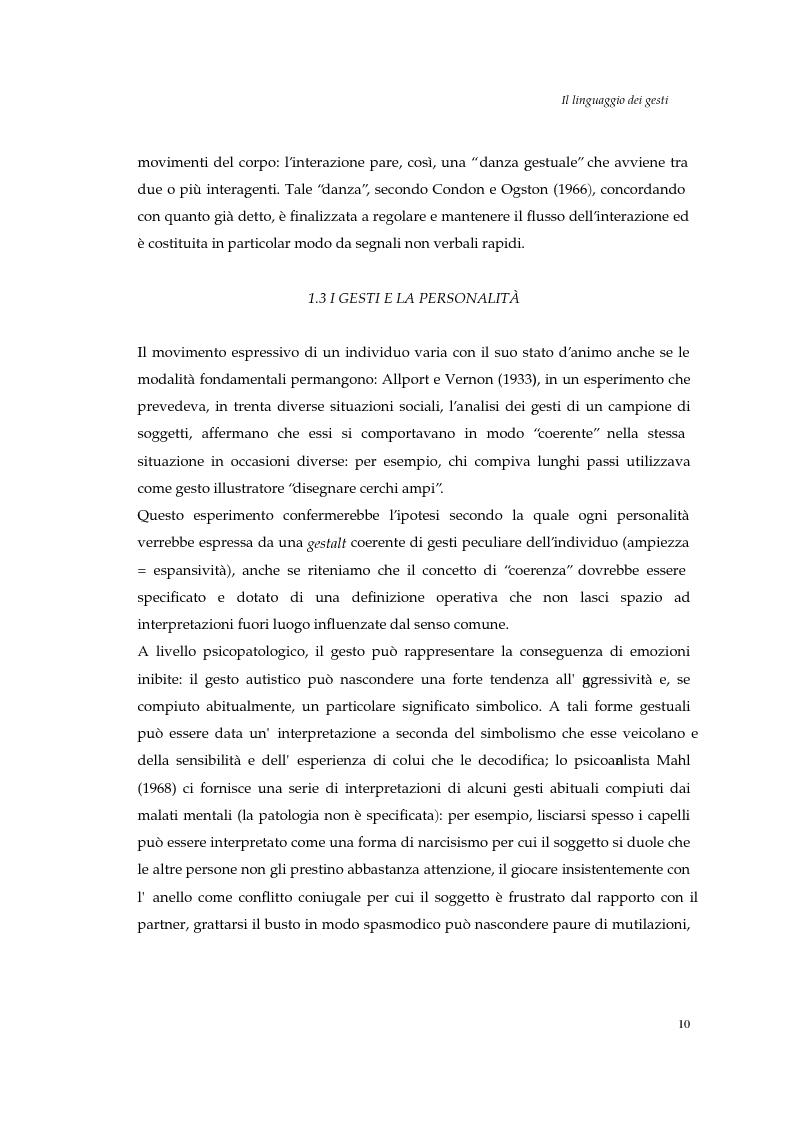 Anteprima della tesi: I gesti e le componenti della comunicazione non verbale. Uno studio sulla gestualità nell'apprendimento, Pagina 13