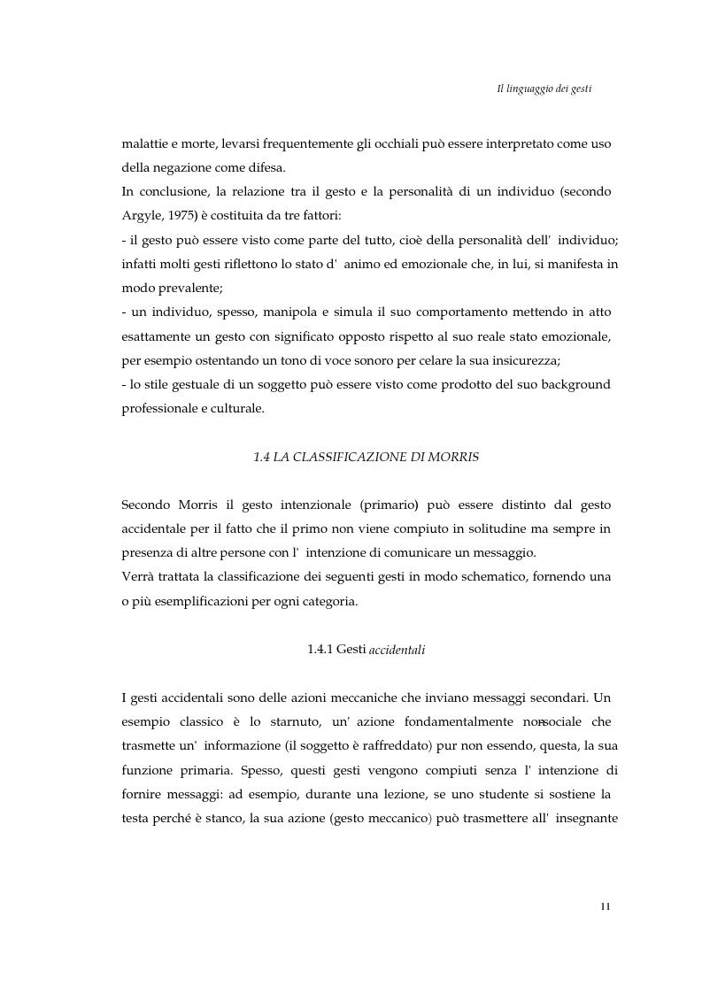 Anteprima della tesi: I gesti e le componenti della comunicazione non verbale. Uno studio sulla gestualità nell'apprendimento, Pagina 14