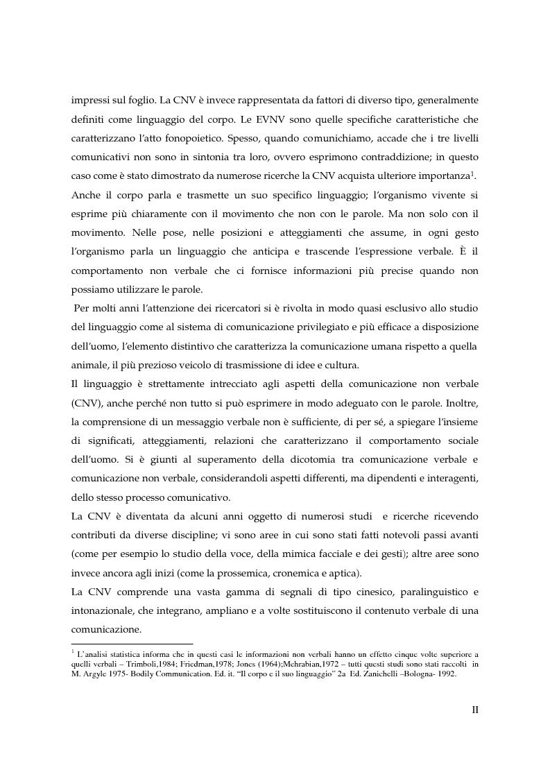 Anteprima della tesi: I gesti e le componenti della comunicazione non verbale. Uno studio sulla gestualità nell'apprendimento, Pagina 2