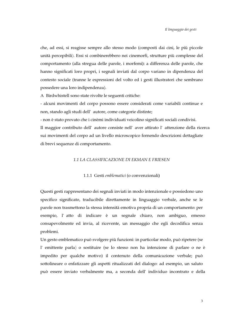 Anteprima della tesi: I gesti e le componenti della comunicazione non verbale. Uno studio sulla gestualità nell'apprendimento, Pagina 6