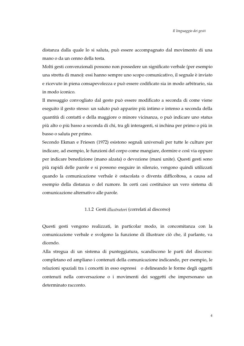 Anteprima della tesi: I gesti e le componenti della comunicazione non verbale. Uno studio sulla gestualità nell'apprendimento, Pagina 7
