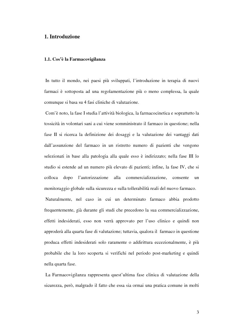 Anteprima della tesi: I numeri della farmacovigilanza in Liguria negli anni 1999-2003, Pagina 1