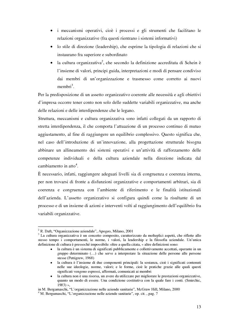 Anteprima della tesi: Dinamiche tecnologico-organizzative, gestione per processi e professionalità innovative nell'azienda sanitaria, Pagina 13