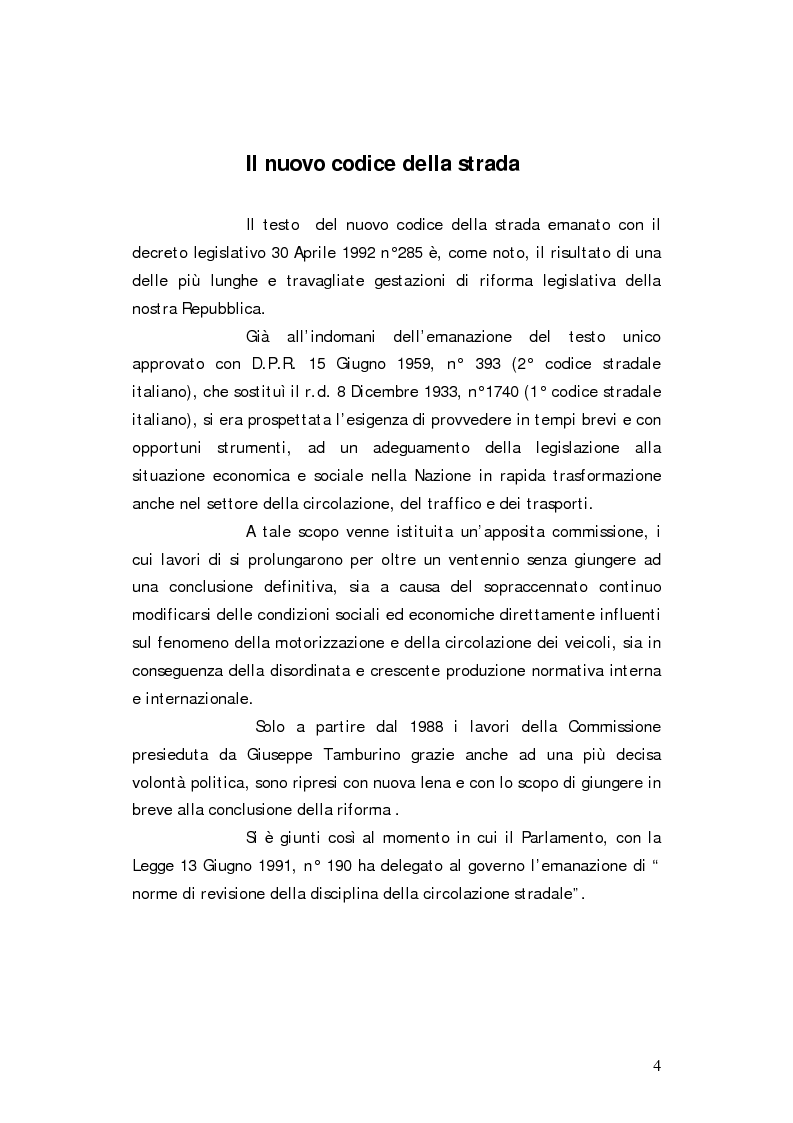 Anteprima della tesi: I reati del codice della strada, Pagina 1
