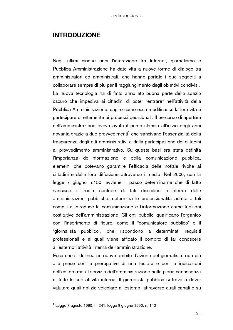 Il percorso della notizia dalla fonte al cittadino attraverso la rete: il caso Governo.it - Tesi di Laurea