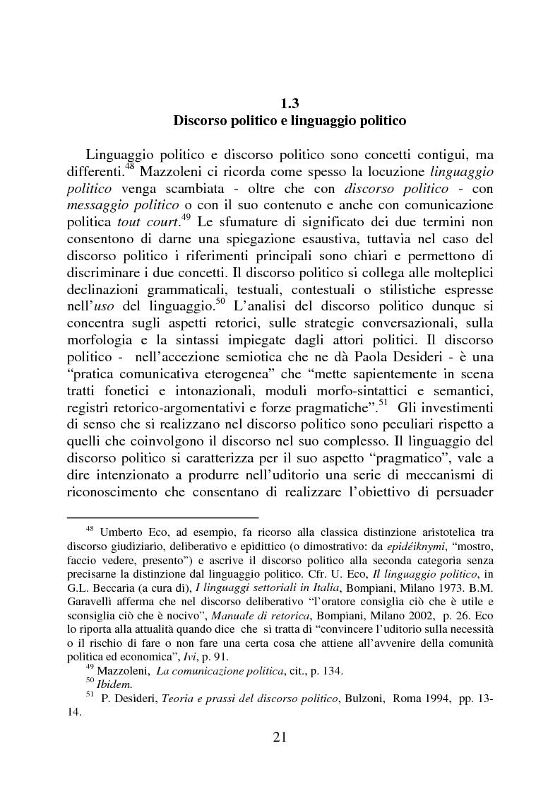 Estratto dalla tesi: Il linguaggio politico di Silvio Berlusconi