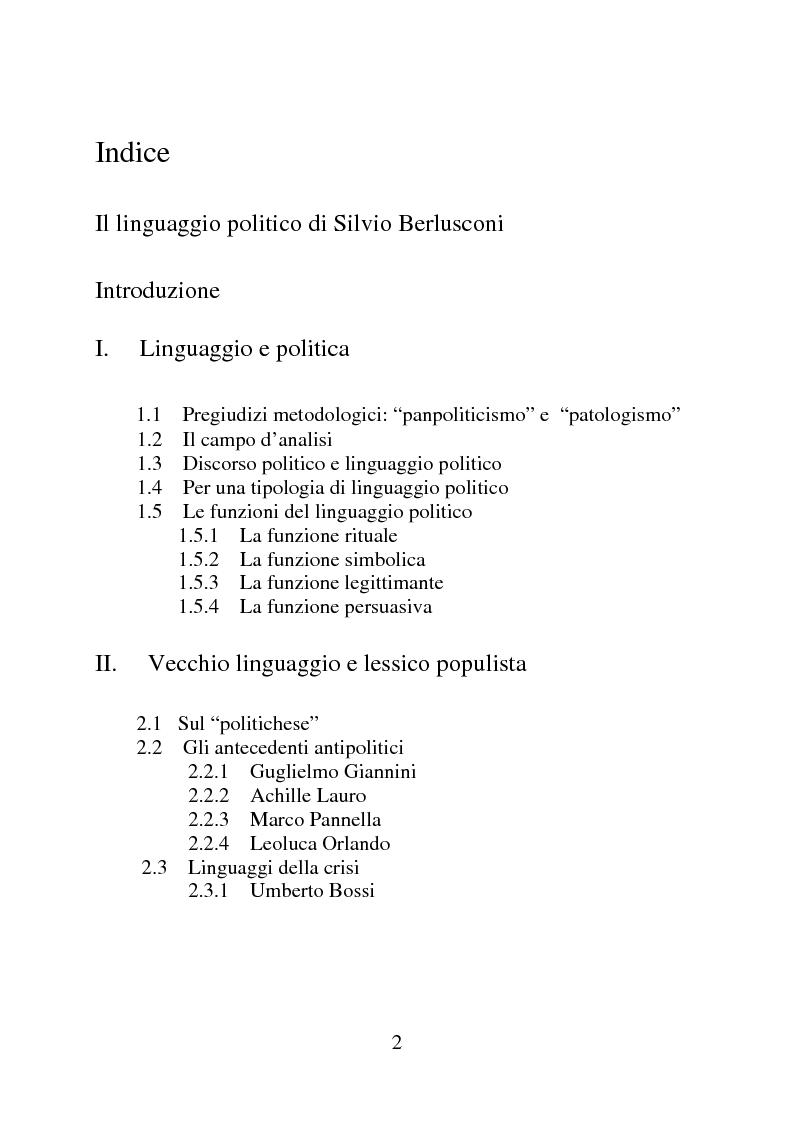 Indice della tesi: Il linguaggio politico di Silvio Berlusconi, Pagina 1