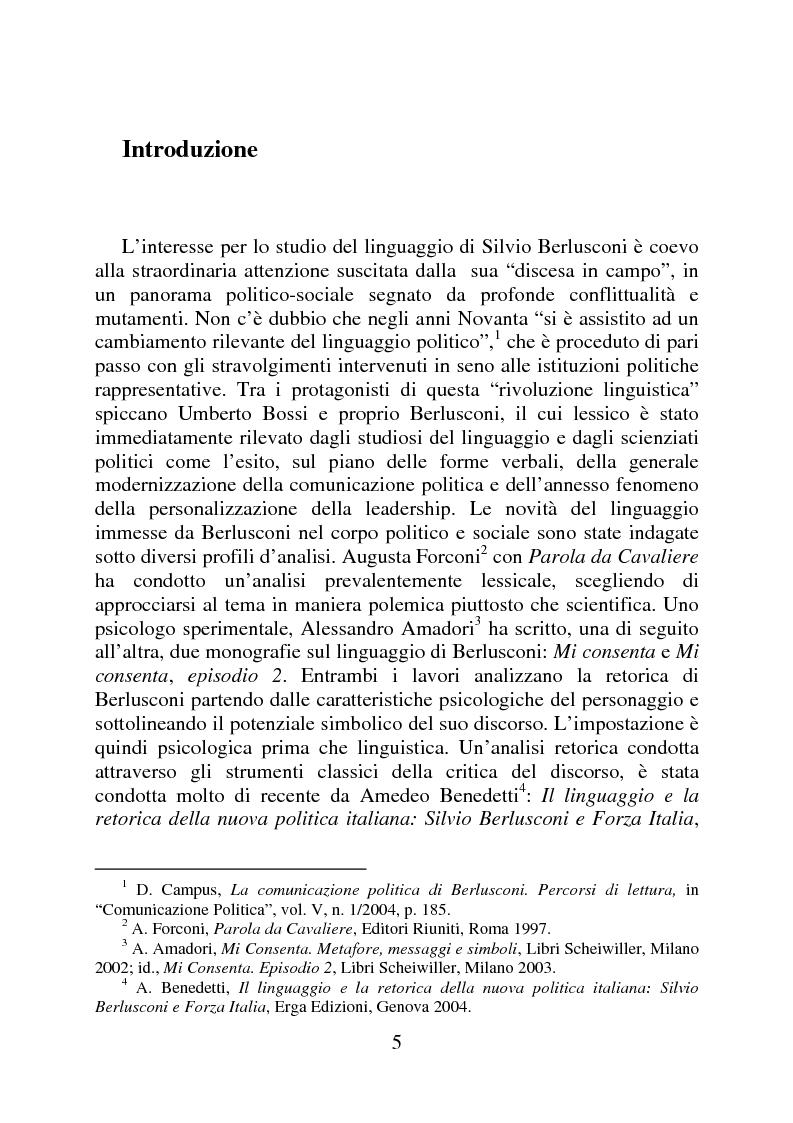 Anteprima della tesi: Il linguaggio politico di Silvio Berlusconi, Pagina 1