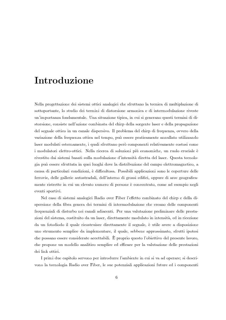 Anteprima della tesi: Fenomeni di intermodulazione in sistemi Radio over Fiber, Pagina 1