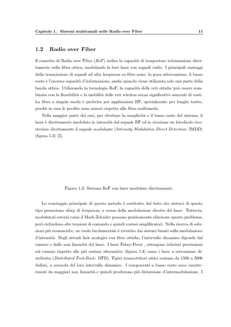 Anteprima della tesi: Fenomeni di intermodulazione in sistemi Radio over Fiber, Pagina 6