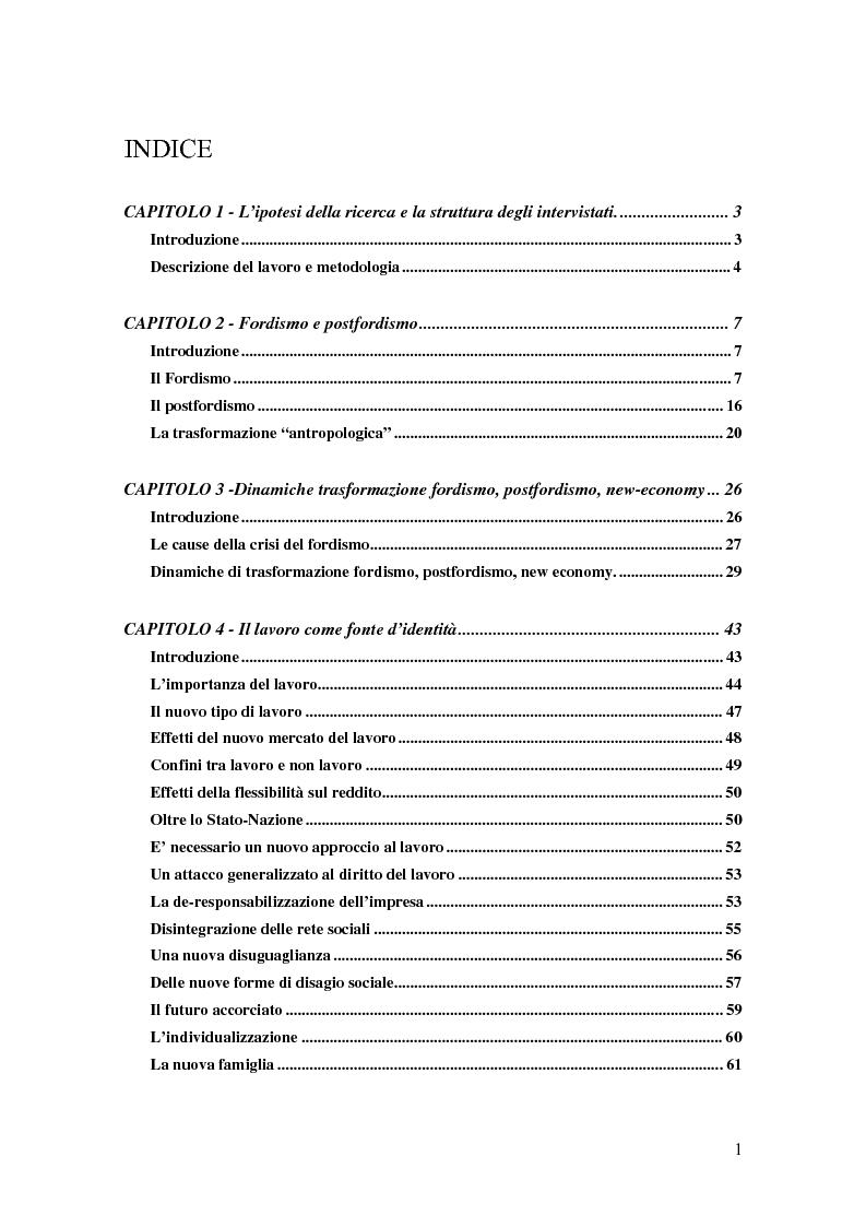 Indice della tesi: Il lavoro interinale - Storie di interinali nel nord-est d'Italia, Pagina 1