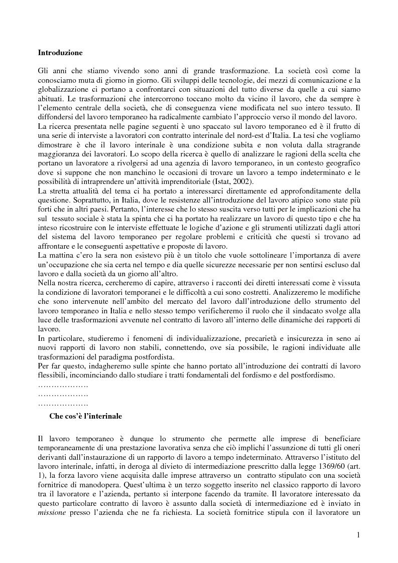 Il lavoro interinale - Storie di interinali nel nord-est d'Italia - Tesi di Laurea