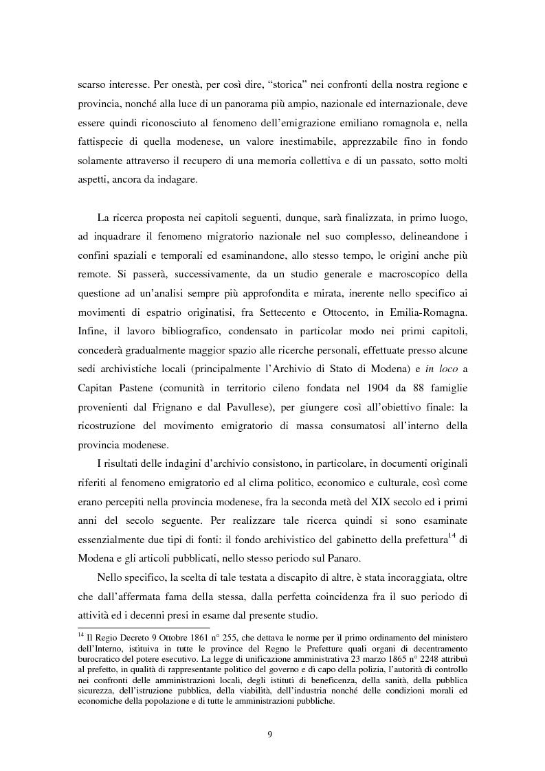 Anteprima della tesi: L'emigrazione di massa dalla provincia di Modena: la percezione della stampa locale., Pagina 11