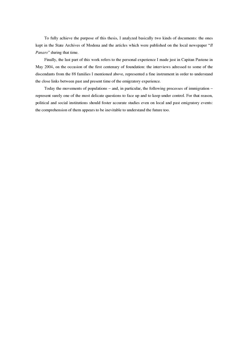 Anteprima della tesi: L'emigrazione di massa dalla provincia di Modena: la percezione della stampa locale., Pagina 4