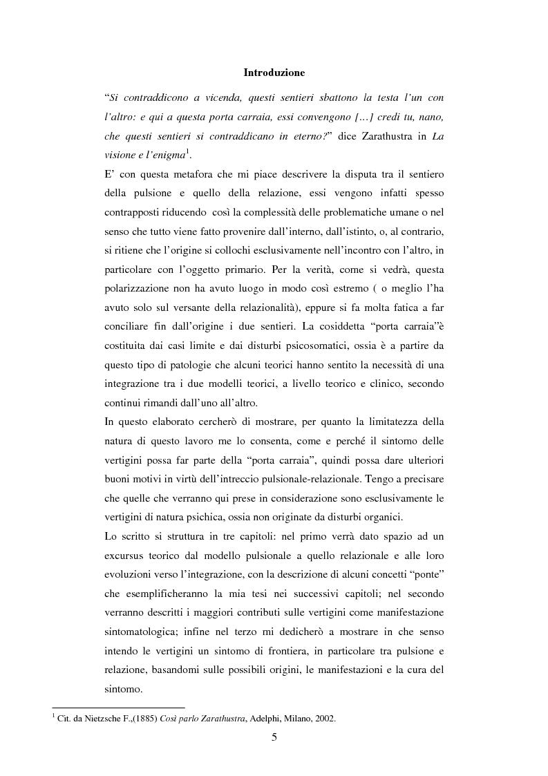 Anteprima della tesi: Le vertigini: un sintomo di frontiera. Un'integrazione a livello teorico-clinico tra modello pulsionale e modello relazionale, Pagina 1
