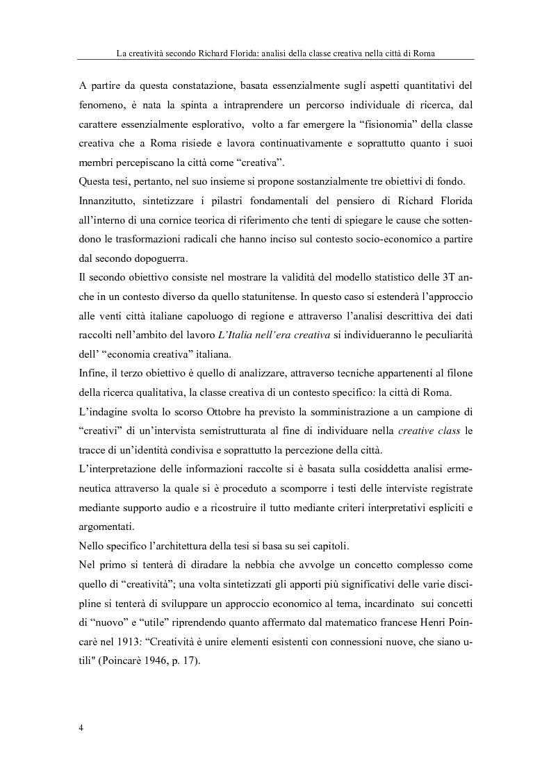 Anteprima della tesi: La creatività secondo Richard Florida: analisi della classe creativa nella città di Roma, Pagina 4