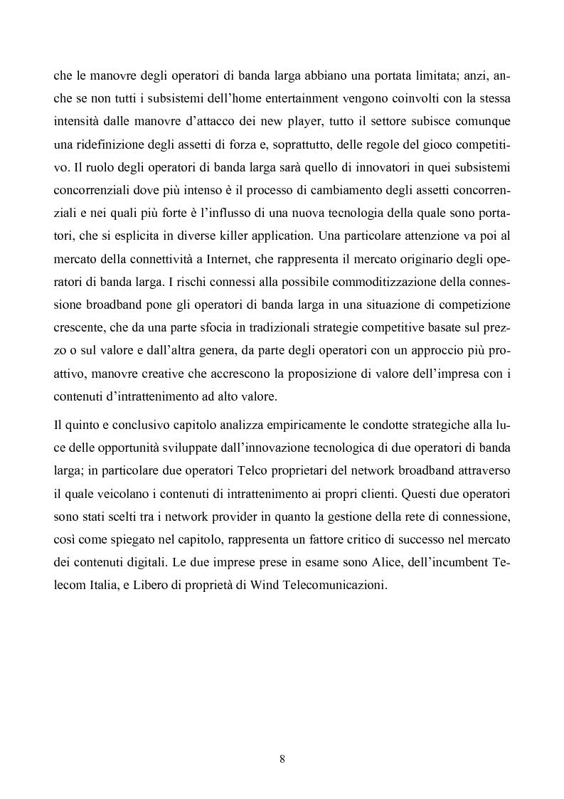Anteprima della tesi: Le strategie degli operatori di banda larga nel settore dell'home entertainment in Italia, Pagina 4