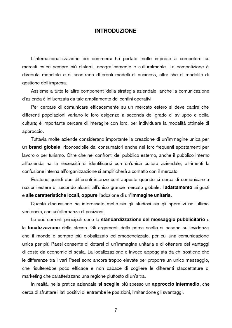 Anteprima della tesi: Le caratteristiche della comunicazione pubblicitaria in un mercato estero: il caso cinese, Pagina 1