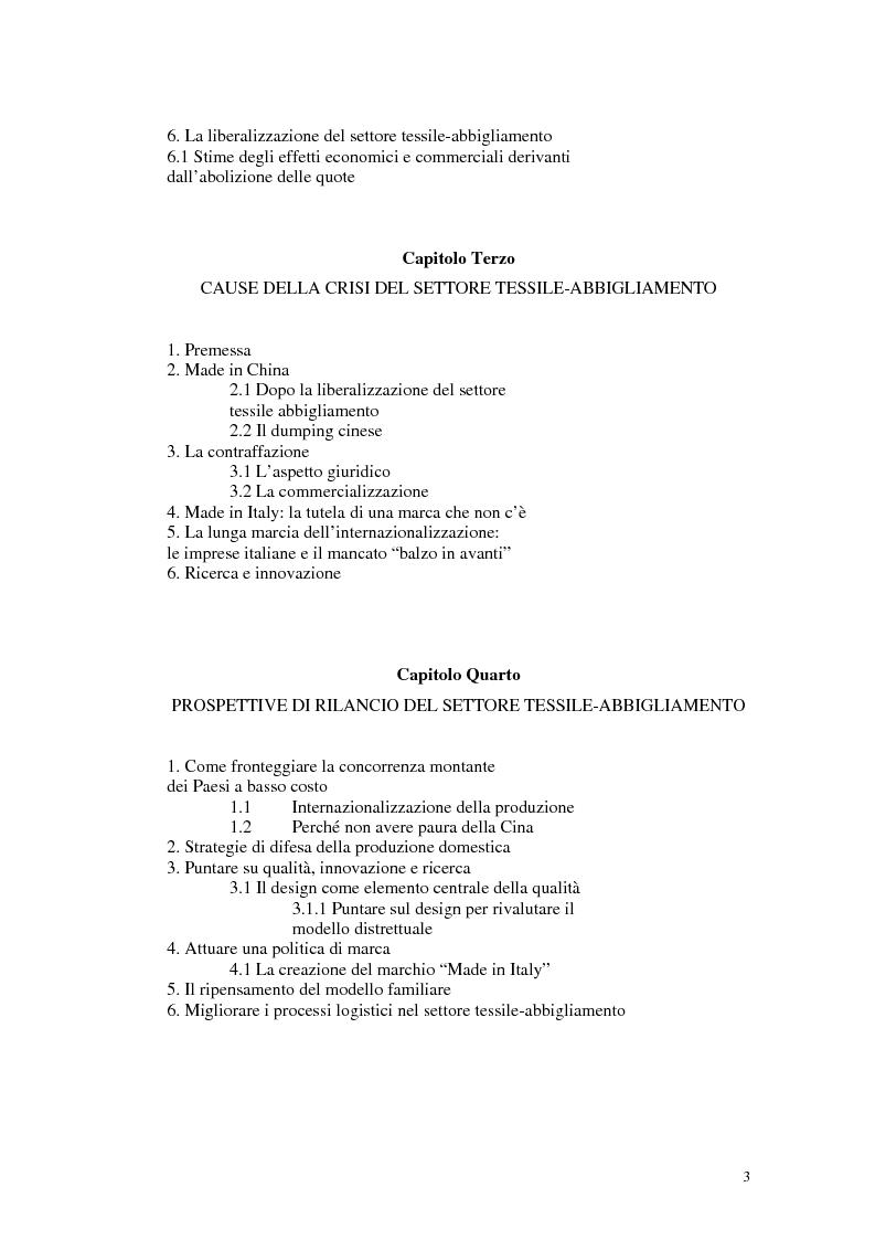 Indice della tesi  Crisi del settore dell abbigliamento. Prospettive di  sviluppo. Il. « 8c40a0bf60ac