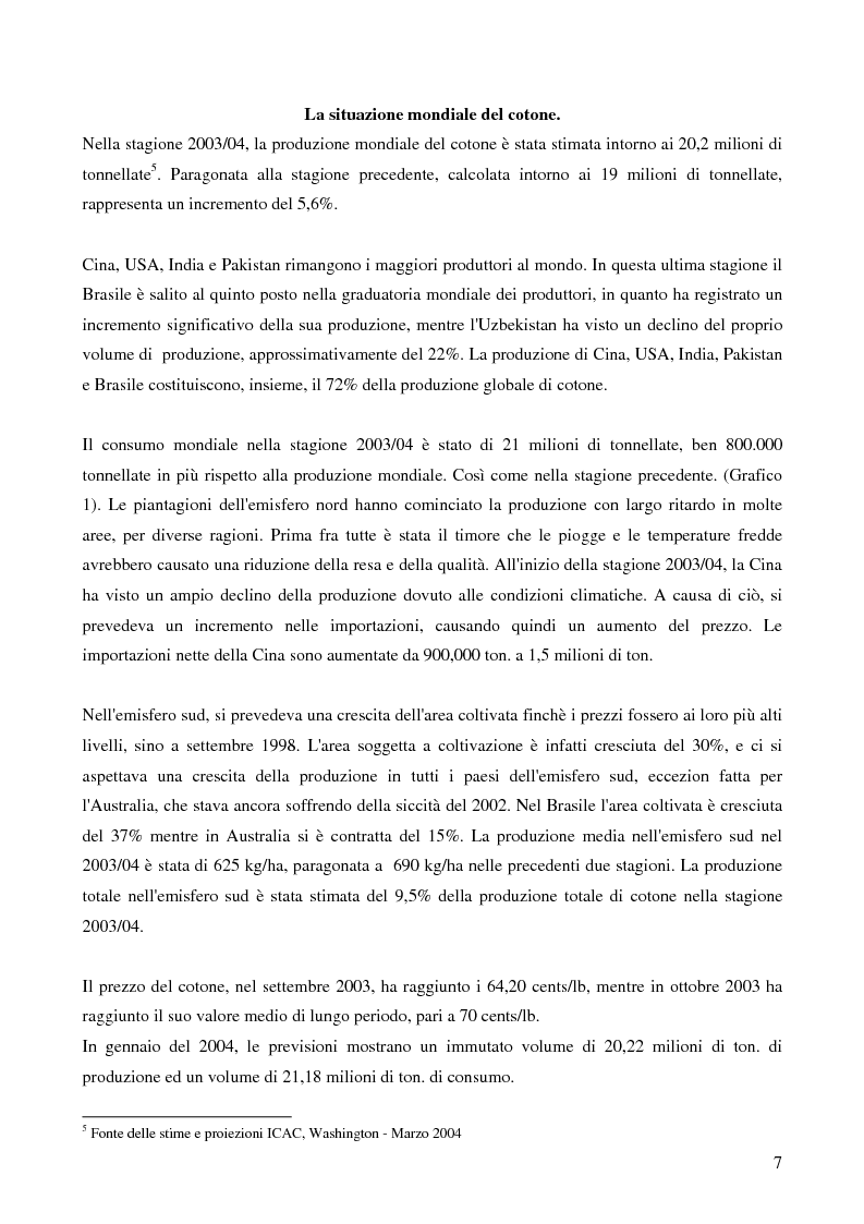 Anteprima della tesi: Il Protezionismo nel Settore del Cotone e gli effetti sull'economia dei paesi dell'Africa Sub-Sahariana, Pagina 5