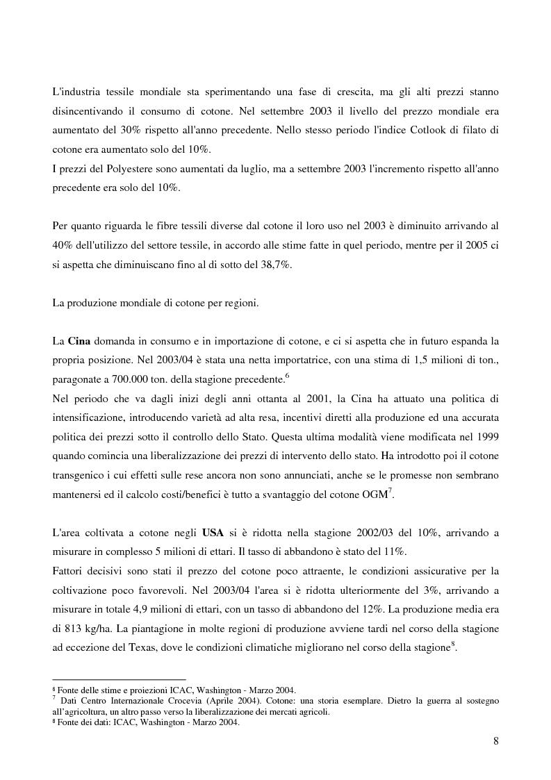 Anteprima della tesi: Il Protezionismo nel Settore del Cotone e gli effetti sull'economia dei paesi dell'Africa Sub-Sahariana, Pagina 6