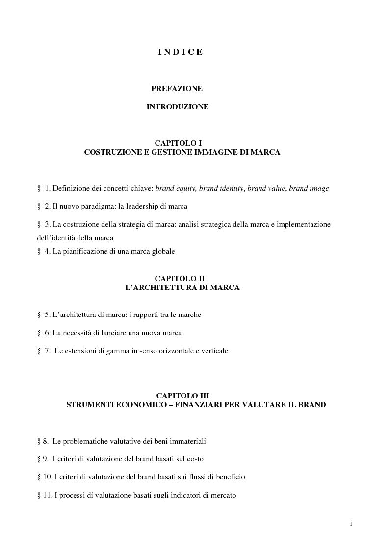 Indice della tesi: Le strategie di brand equity nel settore automobilistico, Pagina 1