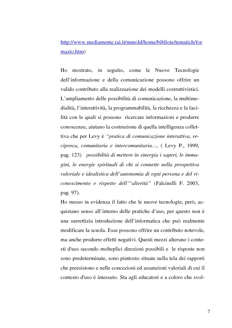Anteprima della tesi: Le tecnologie dell'informazione e della comunicazione come ambienti di innovazione didattica, Pagina 7