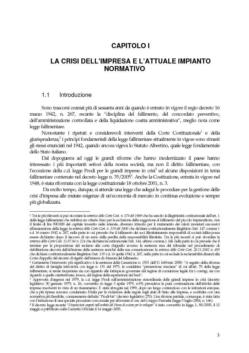 Anteprima della tesi: La riforma del diritto fallimentare: prospettive future del regio decreto 16 marzo 1942, n. 267, Pagina 1