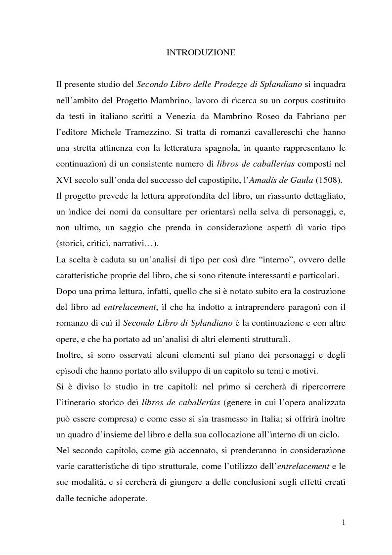 """Anteprima della tesi: """"L'avventura infinita"""": Il Secondo Libro di Splandiano di Mambrino Roseo da Fabriano (Aggiunta al Libro V di Amadis, Venezia 1564), Pagina 1"""