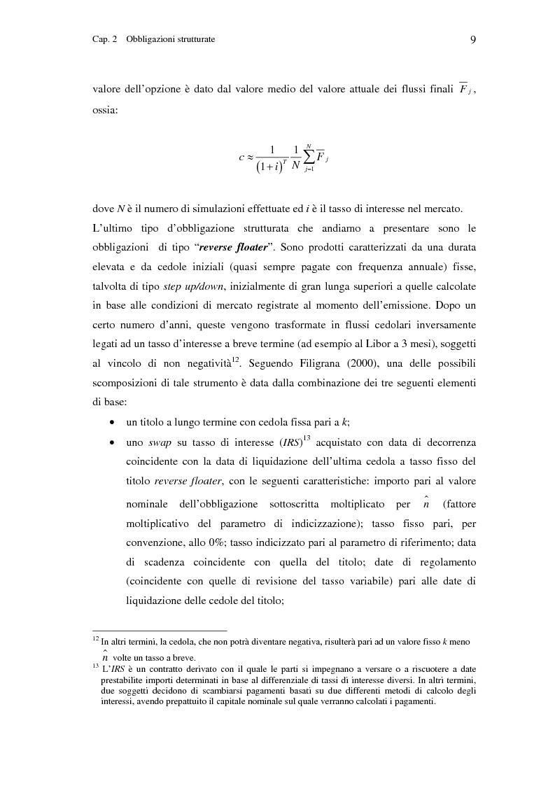 Anteprima della tesi: Valutazione di obbligazioni strutturate con opzioni su tassi di interesse, Pagina 9